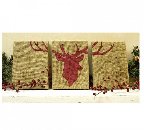 Deer Head Burlap Wall Trio