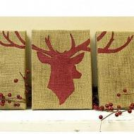 Deer Head Burlap Trio