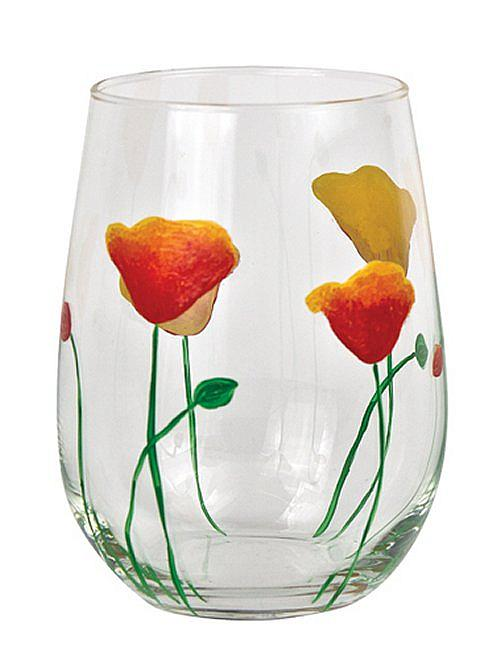 Drinking Glass With Poppies Project By Decoart