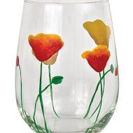 Drinking Glass with Poppies