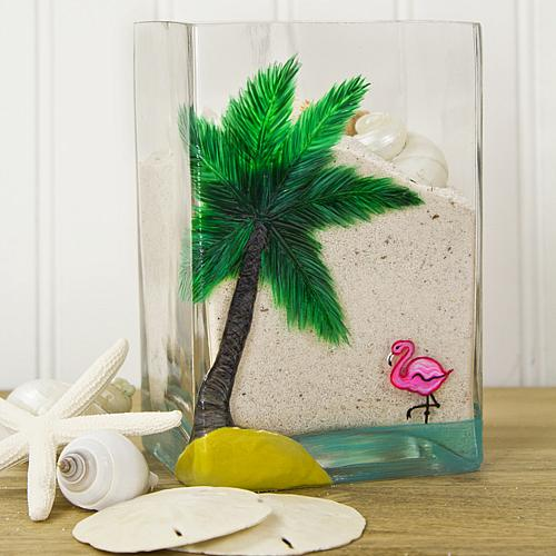 Flamingo And Palm Tree Glass Vase Project By Decoart
