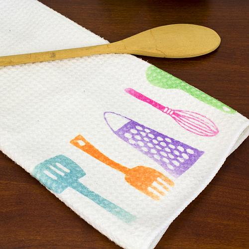 Bright Pink Paint Samples Kitchen Towels: Bright And Cheery Kitchen Tea Towel