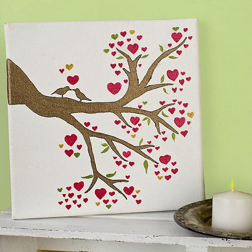 Love Birds In A Heart Tree Canvas Project By Decoart