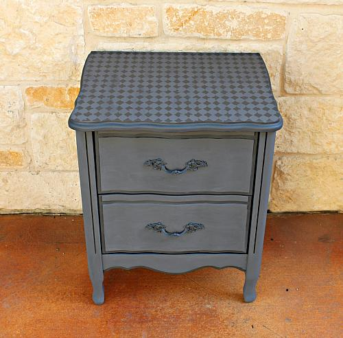 Harlequin Tone On Tone Stenciled Nightstand Project By