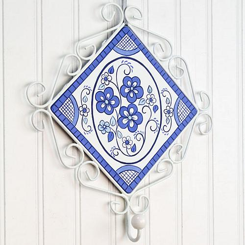 Blue and White Floral Plaque