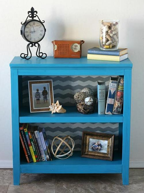 Turquoise Chevron Bookcase Project By Decoart