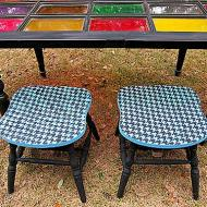 Houndstooth Upcycled Stools