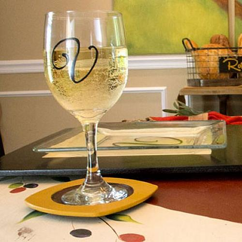 Initial Hand Painted Wine Glasses Project By Decoart