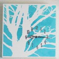 Stenciled Tree Wall Clock
