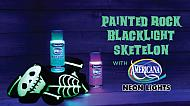 Halloween Painted Rocks: Blacklight Skeleton & Dog
