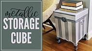 Metallic Striped Storage End Table
