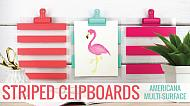 Striped Clipboards with Flamingo Art