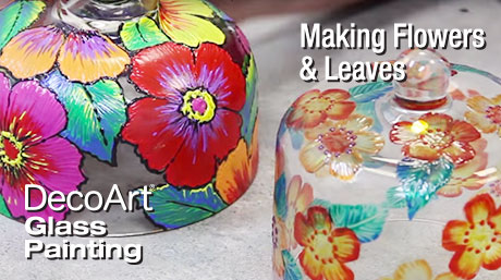 Paint Flowers and Leaves on Glass