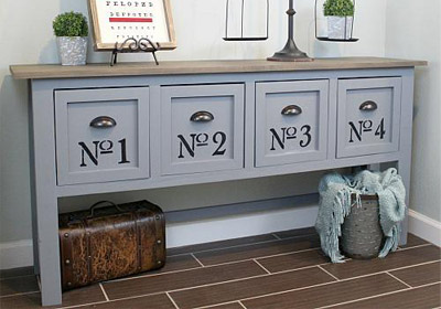 Large Industrial-Inspired Console Table