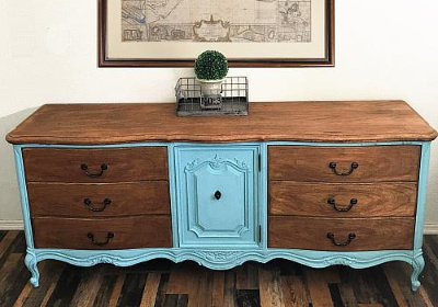 Stained and Painted Vintage Dresser