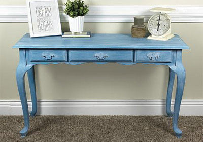 Vintage Effect Wash Turquoise Table