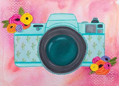 Camera Mixed Media with Watercolor Background