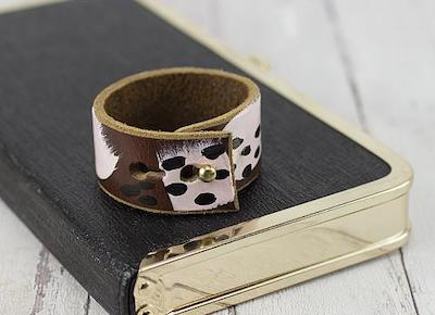 Abstract Painted Leather Cuff
