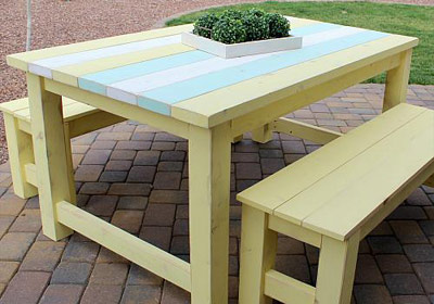 Outdoor Striped Table and Benches