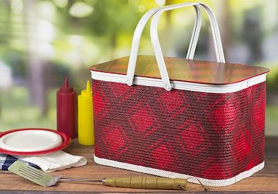 Plaid Outdoor Living Picnic Basket