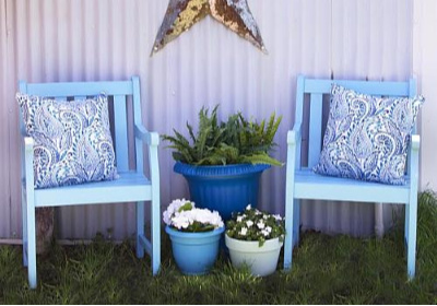 Outdoor Blue Chair Duo