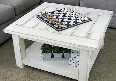 Cozy Farmhouse Coffee Table and Chessboard