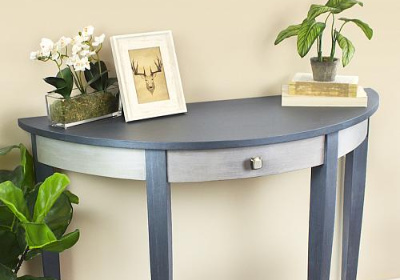 Pewter and Silver Matte Metallic Side Table