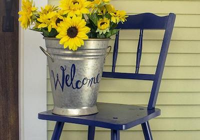 Front Porch Chair and Sunflowers Décor