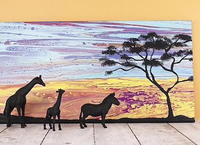 African Savanna Poured Art Silhouette