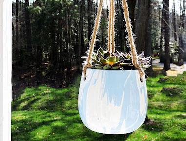 Paint Poured Hanging Planter