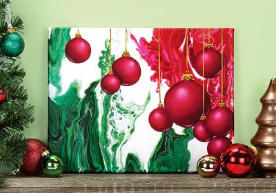 Christmas Ornaments Poured Canvas