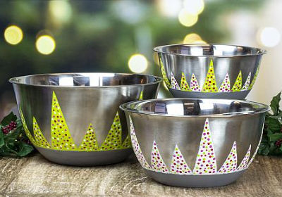 Christmas Tree Mixing Bowl Trio