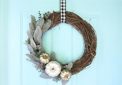 Matte Metallic Pumpkin Fall Wreath