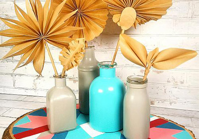 Bright Chevron Pattern Boho Platter and Bottles