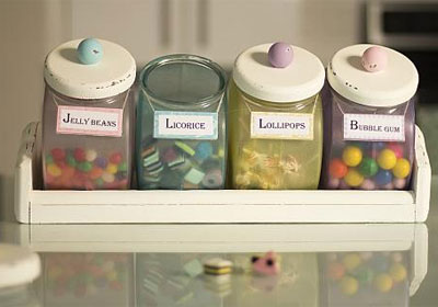 Pastel Old-Fashioned Candy Canister Set