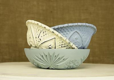 Vintage Chalky Finish Textured Bowls